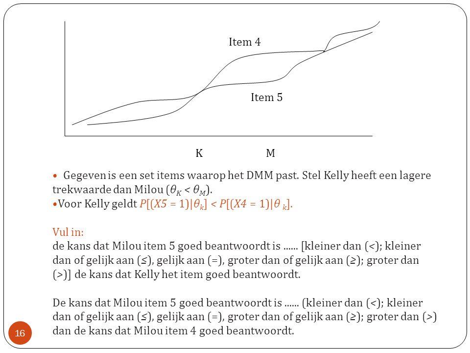 Voor Kelly geldt P[(X5 = 1)|θk] < P[(X4 = 1)|θ k]. Vul in: